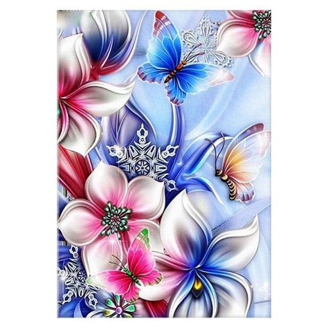 Flower Butterfly 5D DIY Full Drill Rhinestones Diamond Painting Embroidery