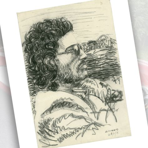 The Boss Bruce Springsteen Print from Charcoal Drawing 1975 Free US Shipping by…