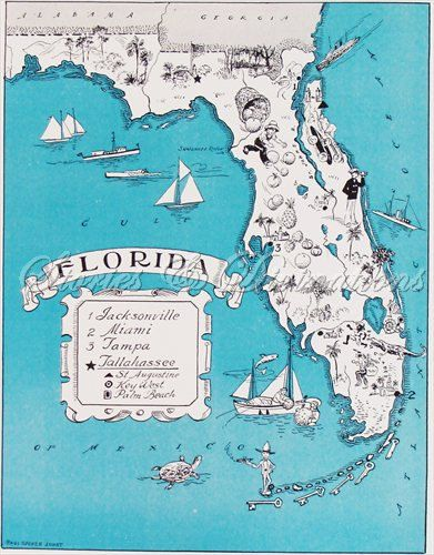 Florida Universities Map.Fun Florida Map Vintage Map Of Florida By Storiesdivinations
