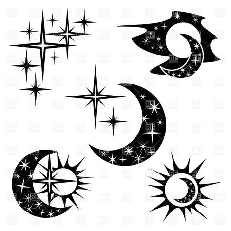 Night and half-moon - crescent with star pattern, 20240, download royalty-free vector clipart (EPS)