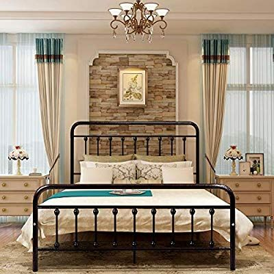 Amazon Com Homerecommend Dark Bronze Metal Bed Frame Platform With Headboard And Footboard Box Spring Replacement Matt Queen Size Bed Frames Living Room Guests