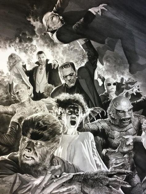 tremendous illustration by Alex Ross Frankenstein Bride Dracula Mummy Wolfman Gillman Invisible Man Retro Horror, Horror Icons, Vintage Horror, Classic Monster Movies, Classic Horror Movies, Classic Monsters, Alex Ross, Arte Horror, Horror Art