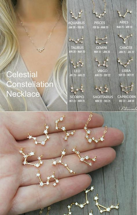 Perfectly minimal and Dainty, this 14k gold filled necklace is made with a celestial constellation pendant, set with miniature cubic zirconia diamonds. Please select SIGN and LENGTH from the drop down menus. The length includes the pendant. The model is wearing an 18 necklace. C O M P O
