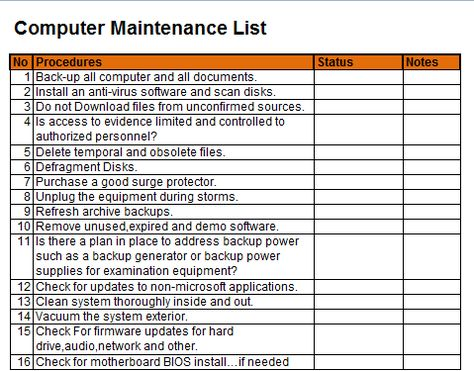 The list template for the computer maintenance is what makes it easy