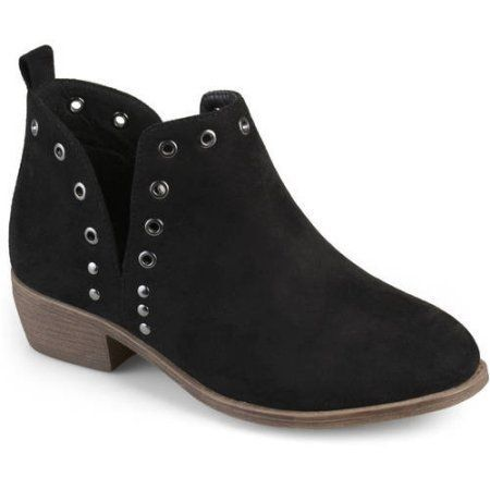 Brinley Co Womens Stud Faux Suede Side Slit Booties Ankle Boots New