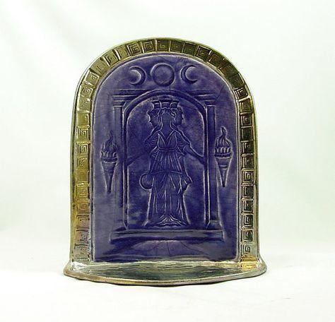 Hecate Hekate Goddess  Shrine  Handmade Raku by DeBaunFineCeramics, $69.75