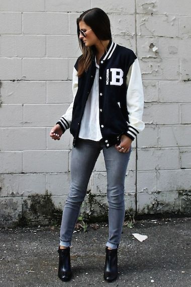 Blogger Tilden B wears a varsity inspired look with letterman bomber jacket and ...