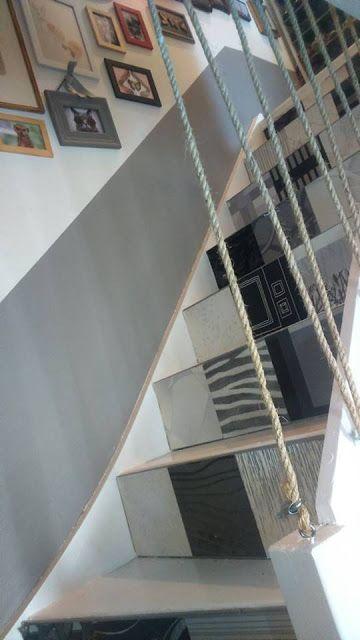 Idee Deco Diy Un Garde Corps Tres Design Original Et Pas Cher Avec Une Corde En Sisal Idees Escalier Deco Escalier Amenagement Escalier