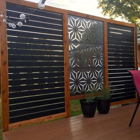 H x ft. W Screen Series Metal Privacy Screen - Modern Design Privacy Fence Designs, Outdoor Screens, Privacy Screen Outdoor, Privacy Fences, Deck Privacy Screens, Hot Tub Privacy, Fencing, Privacy Wall On Deck, Bamboo Privacy Fence