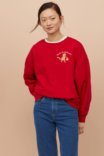 Sweatshirt Mit Motiv Rot Katze H M De 2 Sweatshirt Rote Katze H M