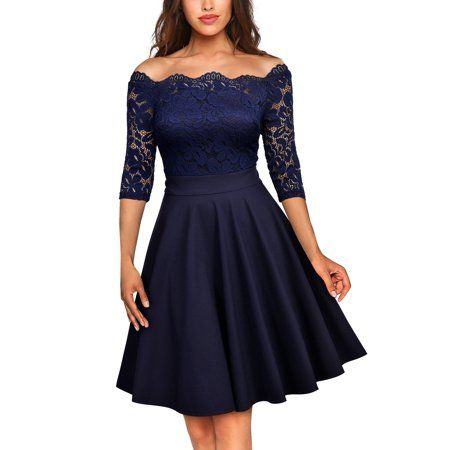 Navy Blue Miusol Womens Vintage Contrast Floral Lace Casual Mini Dress Large
