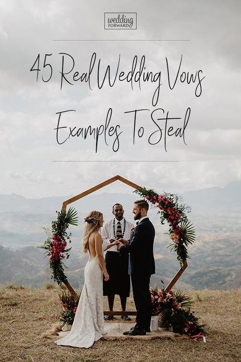 45 Real Wedding Vows Examples To Steal ♥️ Wedding vows? This can be tough. We have some vows ideas that may help. Let some of these real wedding vow examples give you some inspiration! vows ideas 45 Real Wedding Vows Examples To Steal Wedding Ceremony Ideas, Real Wedding Vows, Writing Wedding Vows, Romantic Wedding Vows, How To Dress For A Wedding, Wedding Bells, Perfect Wedding, Wedding Events, Real Weddings