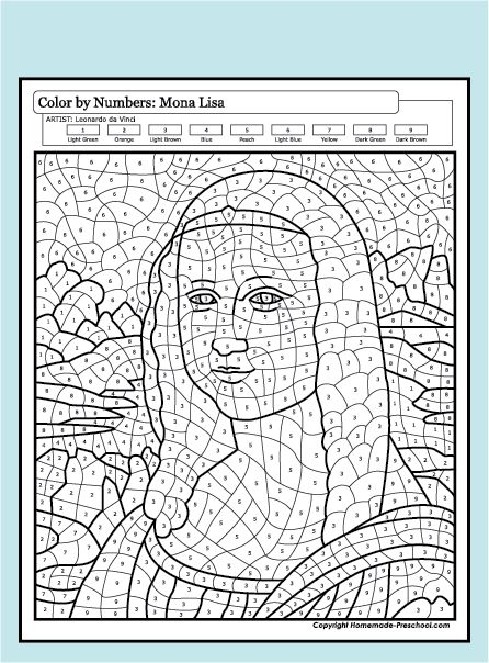Color by Numbers - Mona Lisa Art Sub Plans, Art Lesson Plans, Colouring Pages, Coloring Books, Mona Lisa, Art Handouts, Culture Art, Art Worksheets, Color By Numbers