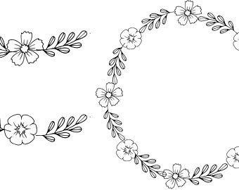 Black Clipart Black Flowers Handdrawn Wreath Clipart Etsy Wreath Clip Art How To Draw Hands Black Flowers