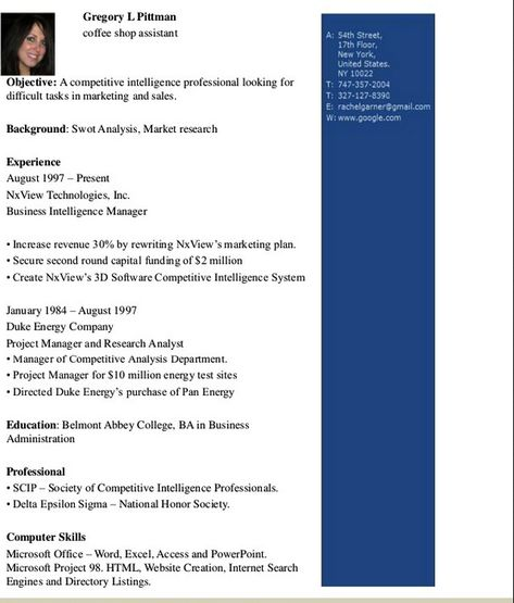 Coffee Shop Assistant Resume Template - http\/\/resumesdesign - business intelligence resume