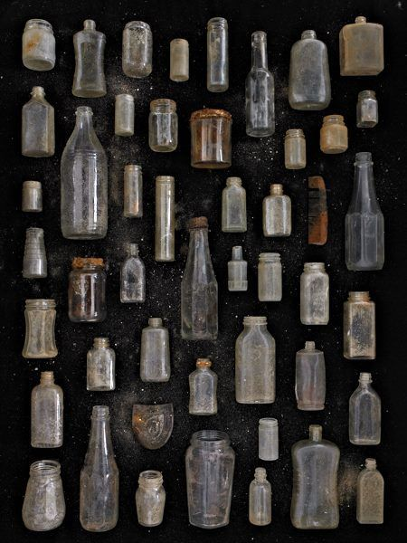 Found in Nature, Clear Glass Jars and Bottles, Barry Rosenthal Antique Glass Bottles, Vintage Bottles, Bottles And Jars, Glass Jars, Clear Glass, Perfume Bottles, Vintage Perfume, Collections D'objets, Displaying Collections
