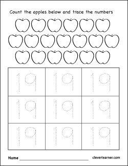 Number Nineteen Worksheets Preschool Tracing Worksheets