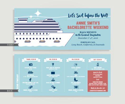 Cruise Bachelorette Invitation With Itinerary Cruise Family
