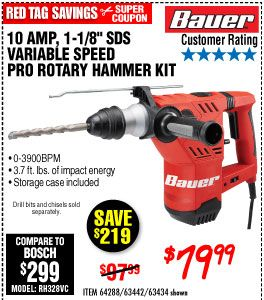 1 1 8 In Sds Variable Speed Pro Rotary Hammer Kit Harbor Freight Tools Energy Storage Coupons