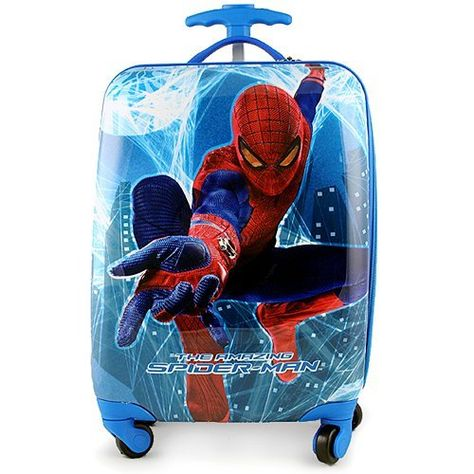 Spider-Man Polycarbonate Hard Shell Luggage Case by Spider-Man. $59.99. Ideal for going on trips, this handy Spider-Man hard shell luggage case features a retractable handle, wheels, and two interior compartments. Measures approximately 18 (L) x 12 (W) x 9 (D) inches. Meets airline requirements for carry on luggage.