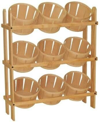 Tiered Wooden Fruit Stand One Column Square Baskets Pantry