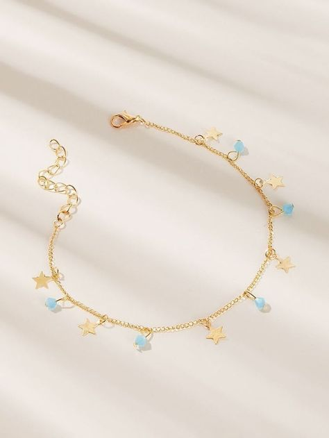 Golden Bead & Star Charm Chain Anklet For Casual Wear 1pc
