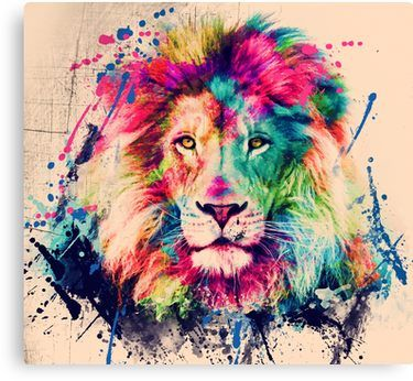Lion Watercolor Splash Portrait Canvas Print By Nora Gad In 2020