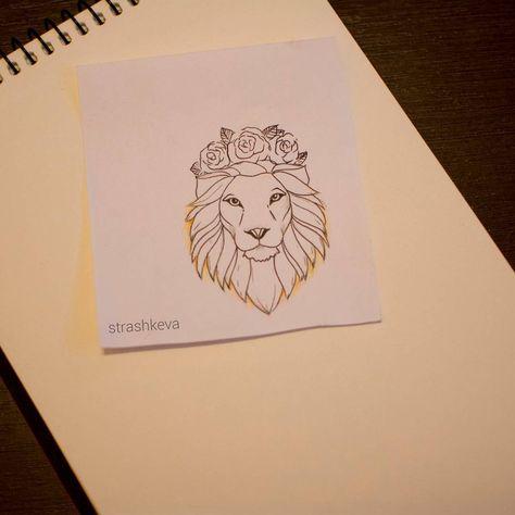 Leo Tattoo | Lion wearing a Flower Crown Tattoo | Tattoo Ideas and Inspiration
