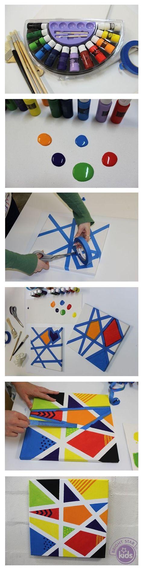 Mozaïek maken met tape en verf op papier of canvas