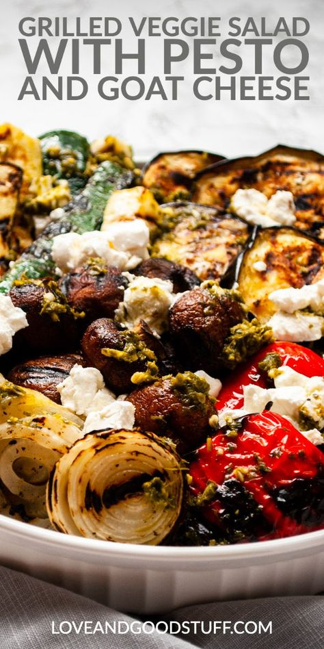 This grilled vegetable salad with goat cheese is the perfect side dish for vegetable lovers! Charred eggplant zucchini red peppers mushrooms and onions topped with pesto and crumbled goat cheese in this easy to make low carb dish. Veggie Recipes, Vegetarian Recipes, Cooking Recipes, Healthy Recipes, Recipes With Goat Cheese, Vegetarian Grilling, Greek Recipes, Healthy Foods, Grilled Vegetable Salads