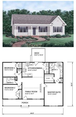 Traditional Style House Plan 45476 With 3 Bed 2 Bath Simple Floor Plans Farmhouse Style House Exterior Design