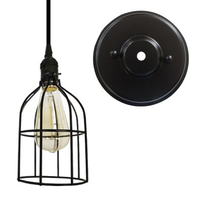Black Finish Cage With Canopy Kit Pendant Lighting Ceiling