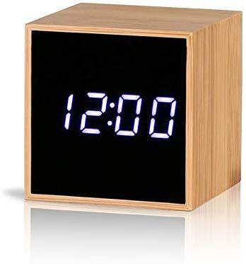 Reliable E Digital Alarm Clock Bamboo Wood Led Light Mini Modern Cube Desk Alarm Clock Displays Time Date Temp Desk Alarm Clock Alarm Clock Digital Alarm Clock