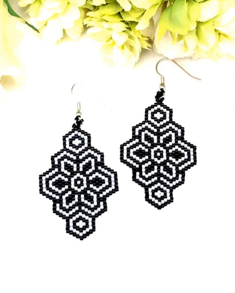 Miyuki Delica earrings, brick stitch pattern, seed beads earrings, perles, tissage
