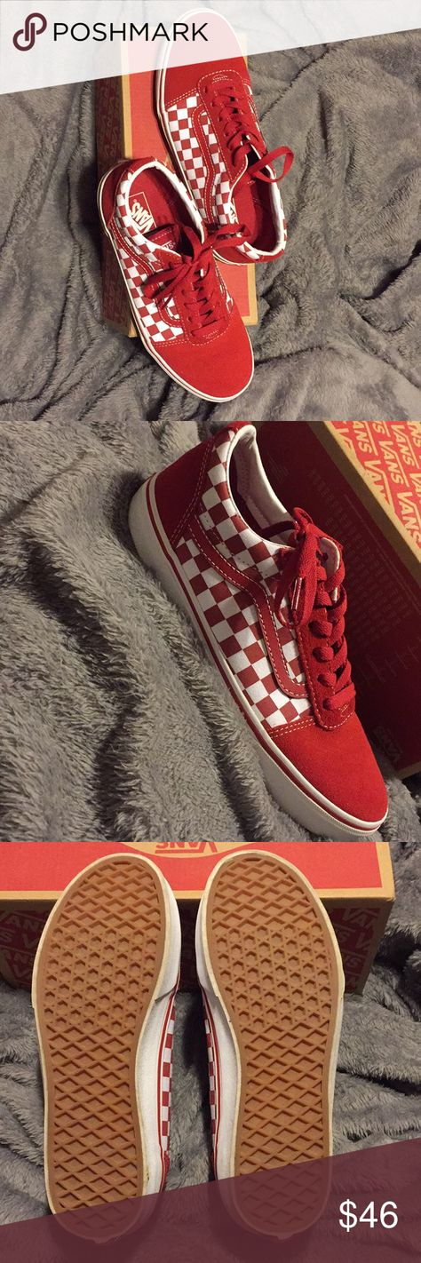 Red checkered old school vans old skool Vans They are suede red checkered  vans. Only 861ff5ab6