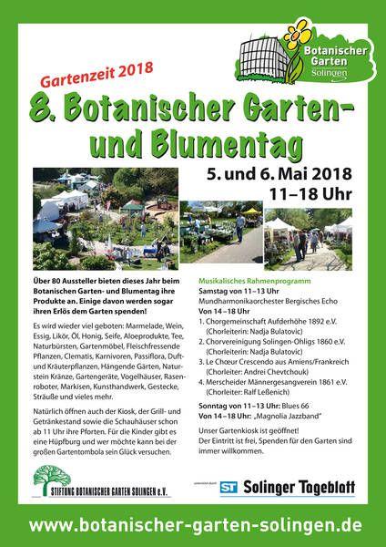 8 Botanischer Garten Und Blumentag In Solingen 05 05 2018 00 00 Uhr Botanischer Garten Solingen Botanischer Garten Solingen Garten