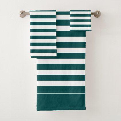 Teal And White Striped Bath Towel Set Zazzle Com Towel Set Bathroom Towel Set Bath Towel Sets