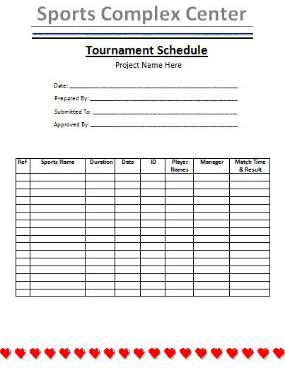 Tournament Schedule Template is a very organized way to manage all - task sheet templates