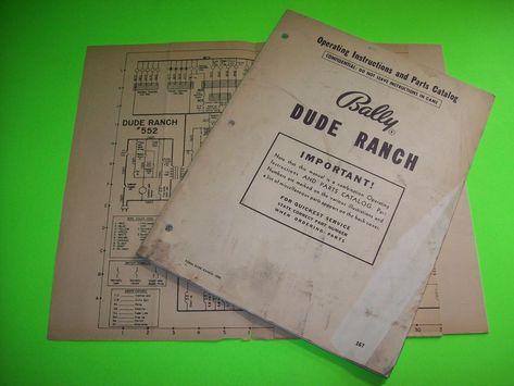 info for new list buy good DUDE RANCH Bingo Pinball Game MANUAL + Schematic Diagram ...