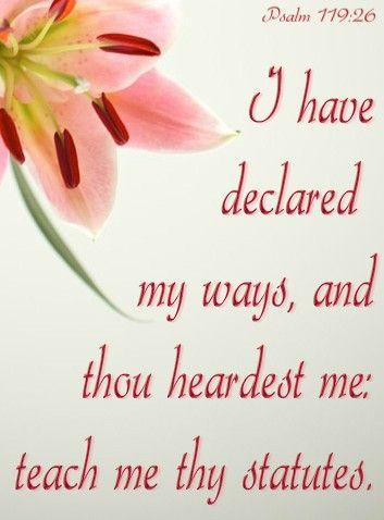 Psalm 119:26 (KJV) I have declared my ways, and thou heardest me ...
