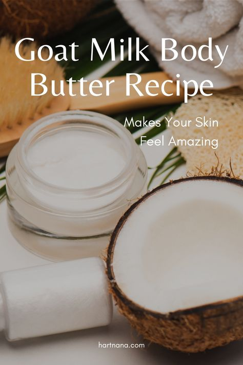 Make your skin feel amazing! Natural remedy for dry skin during these colder dryer months of winter. Click through and see how easy this is to make with stuff you can often find at your local market. #hartnana #bodybutter #recipe