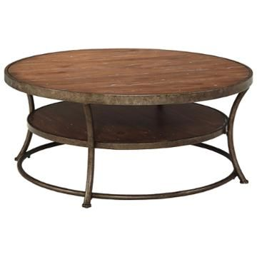T805 8 Ashley Furniture Nartina Light Brown Round Cocktail Table