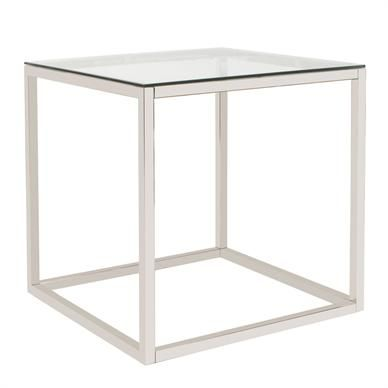 24x 24x24 Stainless Steel With Glass Top By Howard Elliott Antique Side Table Antique End Tables Table