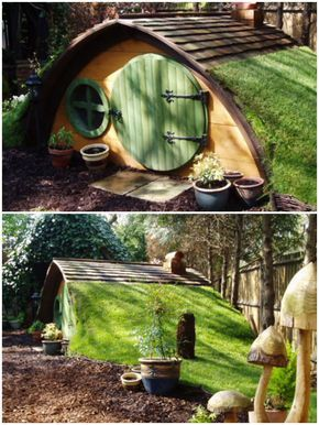 If your garden is not suitable for a treehouse then why not give a corner of it a touch of 'Tolkien' Magic with these beautifully crafted, original 'Hobbit Holes'. ++High life tree house…