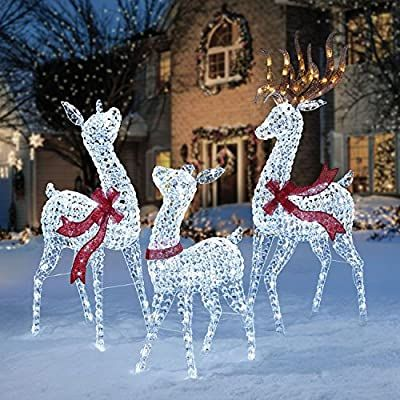 Amazon Com Pre Lit Led Lighted Twinkling Crystal Beaded 3pc Deer Family Out Outdoor Christmas Decorations Christmas Decorations Diy Outdoor Outdoor Christmas