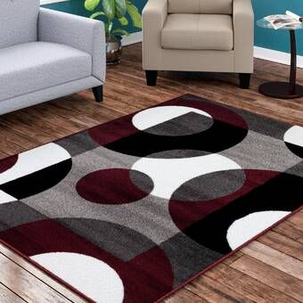 Tapis à Motif Abstrait Gris Rick Burgundy Living Room Area Rugs Rugs