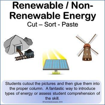 Renewable / Non-Renewable Energy Science Cut Sort & Paste Worksheet ...
