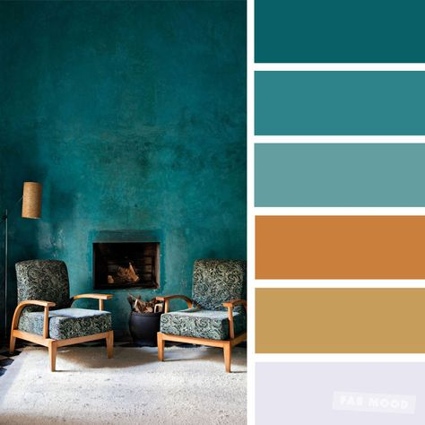 The Best Living Room Color Schemes - Green terracotta - Fabmood Wedding Colors Wedding Themes Wedding color palettes Brown Color Schemes, Paint Color Schemes, Colour Pallete, Interior Color Schemes, Home Color Schemes, Rustic Color Schemes, Teal Paint Colors, Accent Colors For Gray, Office Color Schemes