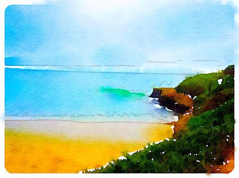 The Sunny Cove Digital Watercolor - Canvas Wall Art (16 x 20) – Rodney Washington | Art Photography - $104 - http://rodneywashingtonartphotography.com/
