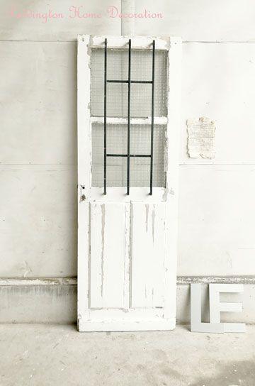 アイアン格子窓のアンティークガラスドア パディントン